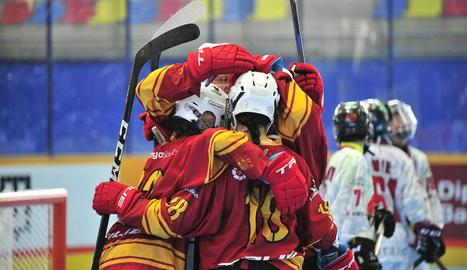 Jugadores de la selecció espanyola de patinatge en línia.