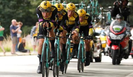 El Team Jumbo va ser el més ràpid ahir als carrers de Brussel·les.