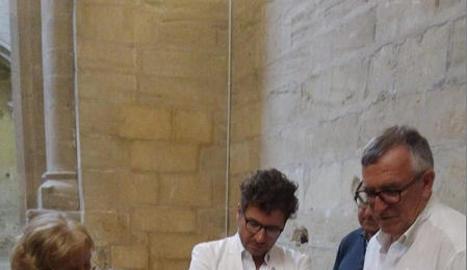 L'italià Danilo Moncada (centre), durant la seua visita a Lleida.