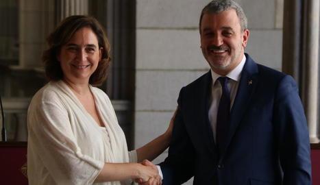 Ada Colau i Jaume Collboni, després de presentar el seu acord.