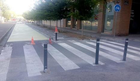 Un tram del carrer Doctor Trueta, totalment peatonal per millorar la seguretat dels nens i nenes del Francesco Tonucci