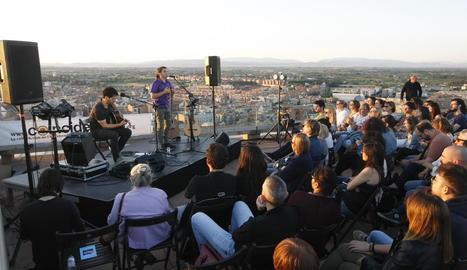 Cesk Freixas, el 12 de juny a la terrassa del Castell del Rei de Lleida.