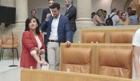 La candidata socialista a la presidència de La Rioja, Concha Andreu, al Parlament regional.