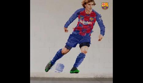 Un artista lleidatà realitza l'anunci del fitxatge de Griezmann pel Barça