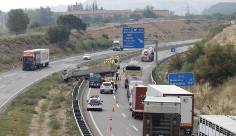 L'accident es va produir en aquest punt de l'autovia A-2 al seu pas per Lleida.