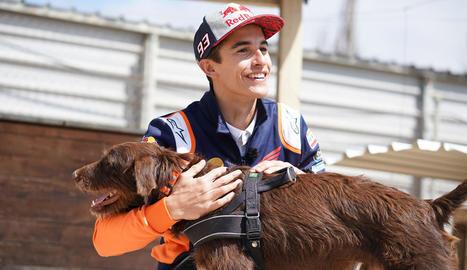 Marc Màrquez, amb el seu homònim pelut a la protectora Amics dels Animals de la Noguera.