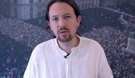 El líder de Podem, Pablo Iglesias, al vídeo publicat ahir al seu Twitter.