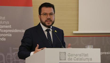 El vicepresident, Pere Aragonès, va proposar dijous establir un salari mínim català.