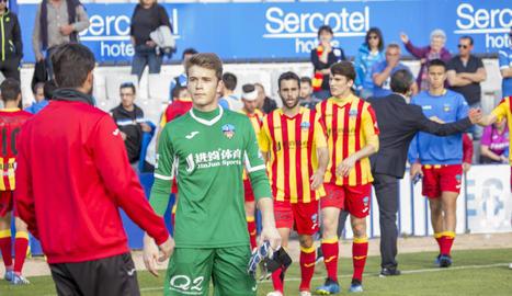 Víctor Vidal, el passat 14 d'abril quan va debutar amb el primer equip a la Nova Creu Alta de Sabadell.