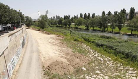 Imatge del marge dret del riu entre la passarel·la de Camps Elisis i el pont de Pardinyes.