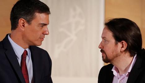 Sánchez i Iglesias, la setmana passada després de reunir-se sobre un possible pacte de govern.