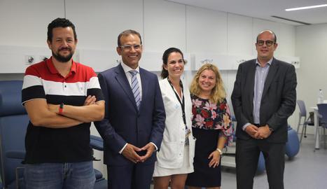 Manuel Sánchez, Jaume Masana i Reyes Grases, ahir després de firmar el conveni a IRBLleida.