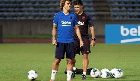 Antoine Griezmann, durant l'entrenament del FC Barcelona a Tòquio.