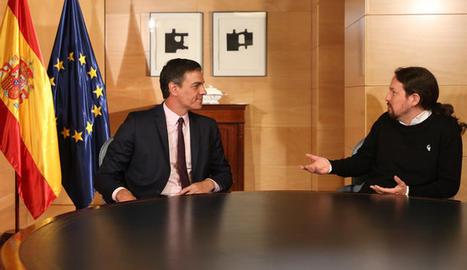 El secretari general del PSOE, Pedro Sánchez, i el líder de Podem, Pablo Iglesias