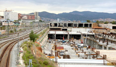 Imatge de les obres de la futura estació de la Sagrera.