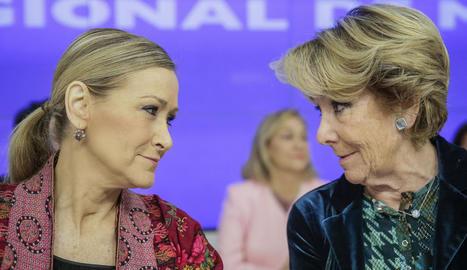 Les expresidentes de la Comunitat de Madrid Cristina Cifuentes i Esperanza Aguirre.