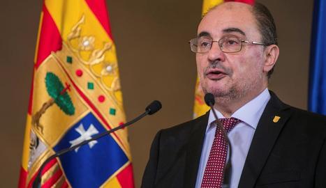 El president aragonès, Javier Lambán, ahir, a Saragossa.
