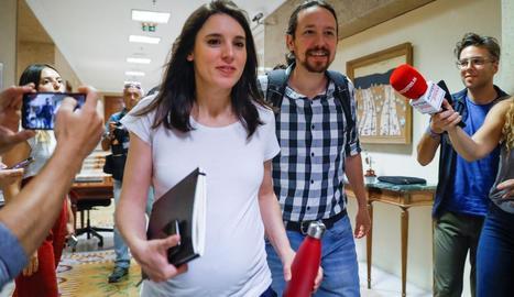 Els líders d'Unides Podem, Irene Montero i Pablo Iglesias.