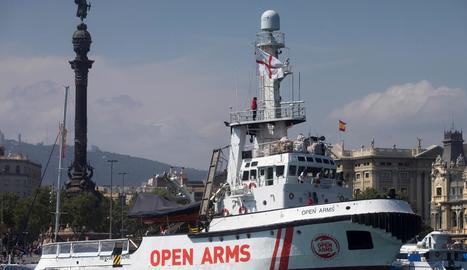 El vaixell d'Open Arms, al port de Barcelona en una imatge d'arxiu.