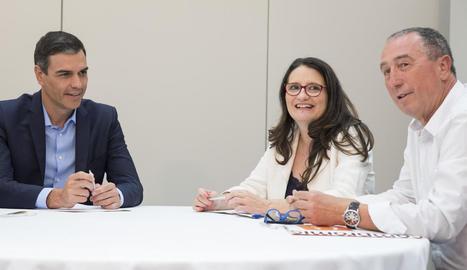 Sánchez es va reunir amb els dirigents de Compromís Mònica Oltra i Joan Baldoví.