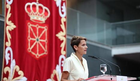 La presidenta de Navarra, María Chivite, ahir en l'acte de presa de possessió del càrrec.