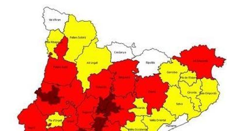 El mapa de risc d'incendi per a aquest divendres 9 d'agost.