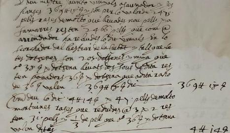Fragment manuscrit del llibre 'Carnisseries', datat el 1626.