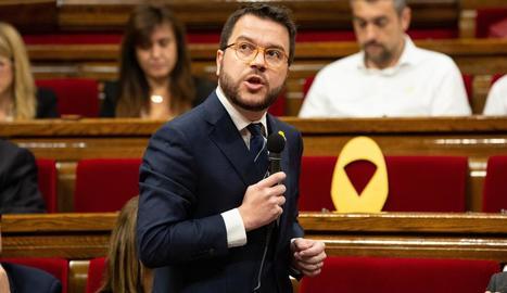 El vicepresident de la Generalitat, Pere Aragonès, en una sessió del Parlament.
