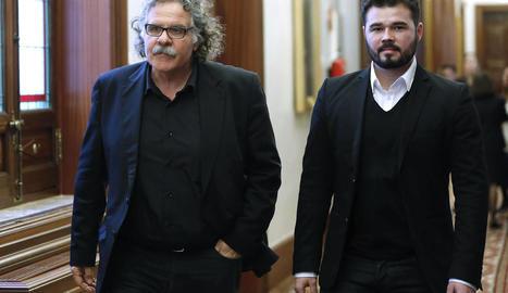 Imatge d'arxiu de Joan Tardà i Gabriel Rufián, al Congrés dels Diputats.