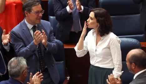 La nova presidenta de la Comunitat de Madrid, Isabel Díaz Ayuso, agraeix les felicitacions.