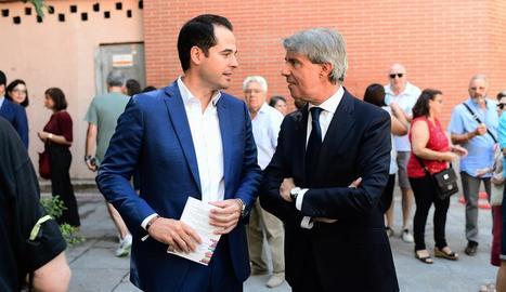 Aguado i Garrido, ahir, durant la celebració de la Paloma a Madrid.