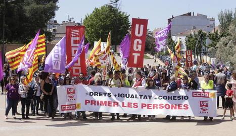 Imatge de l'última manifestació conjunta d'UGT i CCOO amb motiu del passat Primer de Maig.