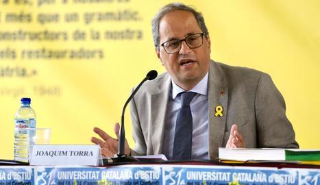 El president de la Generalitat, Quim Torra, en la cloenda de la commemoració dels 50 anys de la Universitat Catalana d'Estiu (UCE).