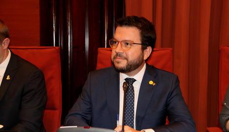 El vicepresident del Govern i conseller d'Economia, Pere Aragonès, a l'inici de la comissió d'Economia sobre la