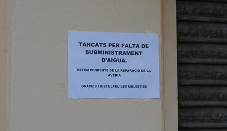 Mollerussa i el Palau s'estan més de 5 hores sense aigua per una avaria