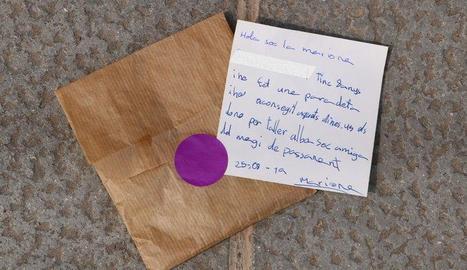 Imatge de la carta de Mariona i el sobre amb els diners donats.