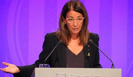La portaveu, Meritxell Budó, durant la roda de premsa posterior al Consell Executiu.