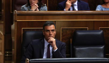 El president del Govern central en funcions, Pedro Sánchez, ahir, al Congrés.