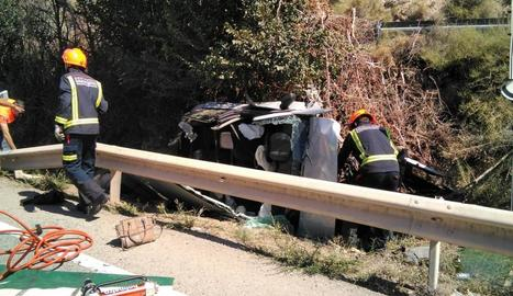 Imatge de l'accident que es va produir ahir al migdia.