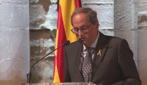 Un moment de la intervenció del president a l'acte de Diada a la Seu Vella de Lleida.