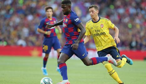 Samuel Umtiti durant el partit del Gamper contra l'Arsenal.