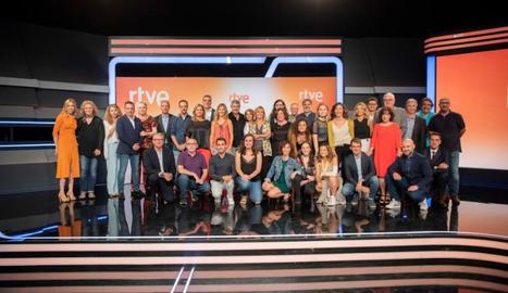 Foto de família dels responsables de RTVE Catalunya, que ahir van presentar les novetats.