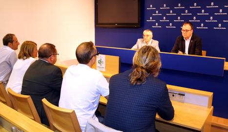 La roda de premsa de presentació dels ajuts de la Diputació de Lleida.