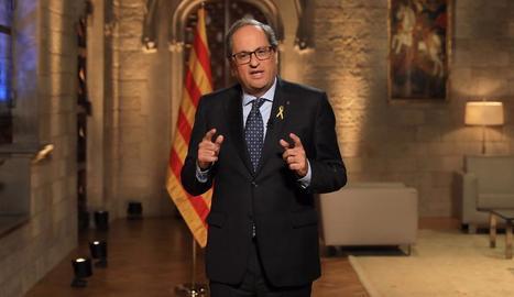 El president de la Generalitat, Quim Torra, ahir, durant el discurs institucional de la Diada.