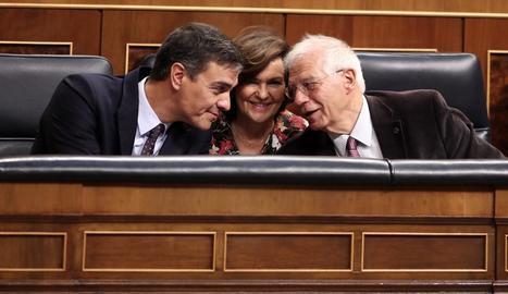Sánchez, Calvo i Borrell, ahir, durant la sessió de control al Congrés dels Diputats.