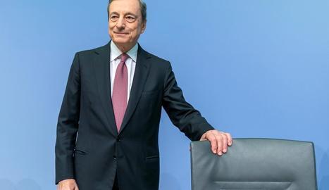 El president del Banc Central Europeu, Mario Draghi, ahir, a Frankfurt.