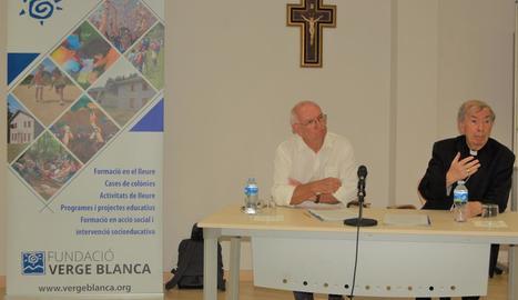 J.R. Saura (Fundació Verge Blanca) i Salvador Giménez, bisbe.