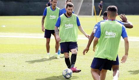 Messi, ahir durant l'entrenament.