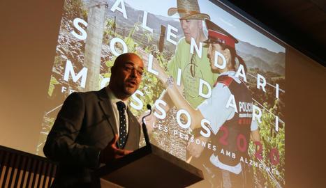 El conseller d'Interior, Miquel Buch, a l'acte de presentació del calendari solidari dels Mossos d'Esquadra.