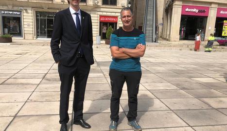 Marc Solanes i Carlos Garcia, ahir a la sortida del judici.